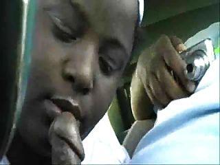 Black Bbw With Big Tits Sucking Dick In A Car.
