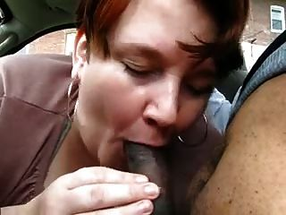 Mature Chubby Interracial Porn - Chubby Mature Gives Blowjob To Young Black On Car