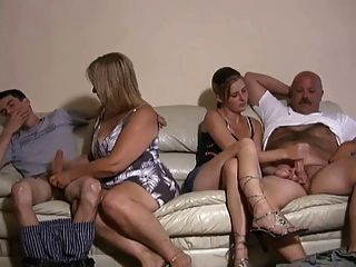 Mother And Daughter Jerking Two Guys Off