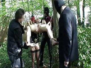 Master And 2 Slaves Play Out Doors...bmw