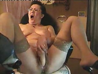 Old Granny Dildoing On Cam