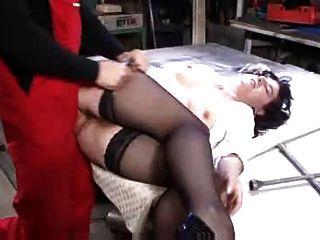 Hairy Mature In Stockings Fucks In Workshop