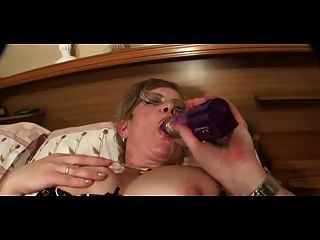 Big Nippled Granny In Stockings Strips And Toys