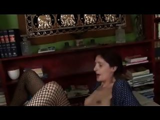 Skinny Saggy Tiny Titties Granny In Fishnets Fucks