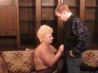 Russian Grandma With A Boy
