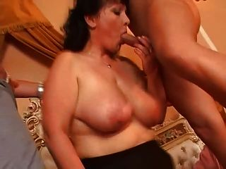 Busty Mature Pantyhose Fucks Two Cocks