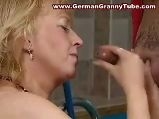 Big Titted Blonde Old Granny Fucked Hard In The Pool