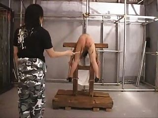 Asian Slave Bent Over And Whipped