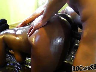 Oiled Ebony Couple Fuck !!