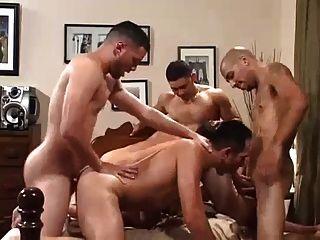 Gay bareback gang bang sex