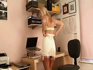 British Blond Secretary Dressed To Get Your Erect