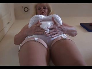 Mature Busty Lady In Sheer Slip Strips