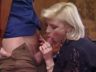 Posh Pierced Granny In Stockings Fucks