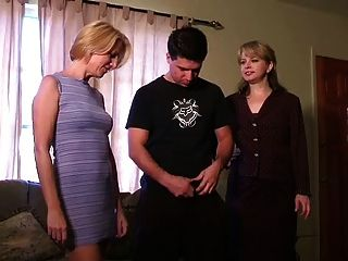 Guy Gets A Handjob From 2 Moms
