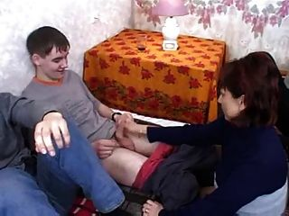 5 Russian Boys Fuck A Naughty Mature