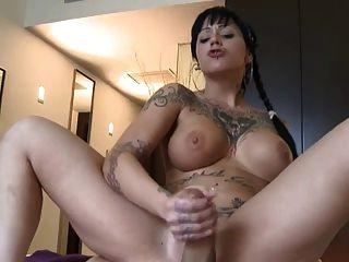 Tattooed And Pierced Girl Doing Handjob