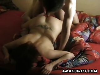 Busty wife sucks hubbys big cock and rides on it 3