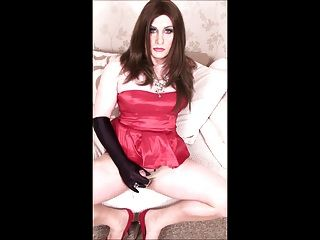 Crossdresser In Red Cocktail Dress Cum Shot
