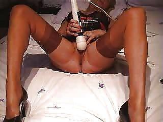 Sexy mature stockings masturbates and wants more