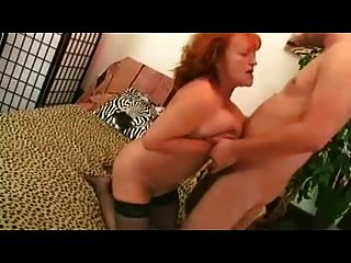 Redhead Granny In Stockings Sucks And Fucks