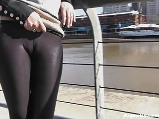 Round Ass In Tight Leather Pants & Big Cameltoe In The City