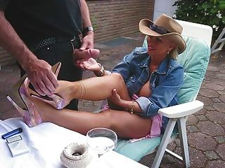 Cum heels legs Mature shot high
