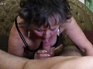 Old grandmothr fucks and sucks her toyboy 8