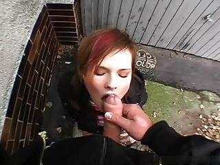 Amazing Cute Girl Eats Sperm Outdoor