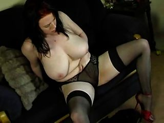 Chubby Lingerie Housewife Masturbating On Sofa