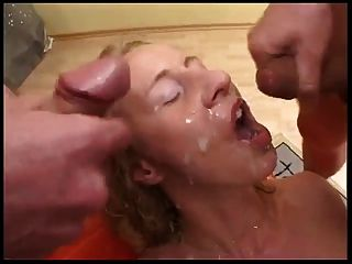 German Mature Gangbang & Covered In Cum