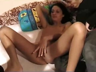 Russian mother teaches daughter to suck