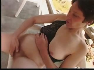 Hairy Mature Masturbates In Garden