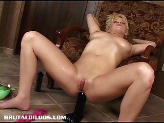 Blond Teen Fills Her Asshole With A Brutal Dildo