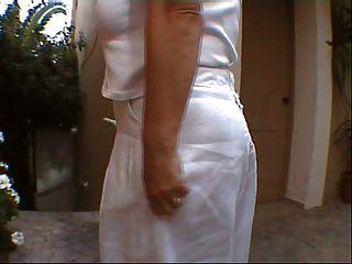 Flashing My Stockings And Boobies On Crete