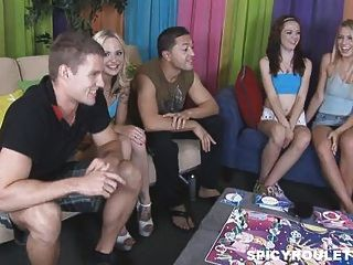 8 College Teens Play Entertaining Board Game And Fuck