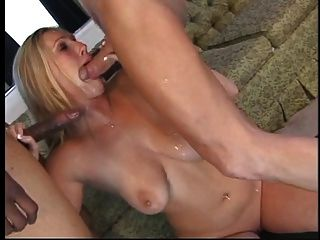 Thick Blonde With Big Tits Swallows Two Huge Cocks Whole And Gets Fucked On Sofa