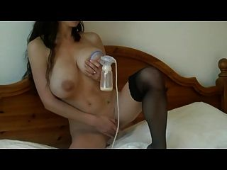 Busty&slim Girl With Lactating Breasts And Her Breast Pump