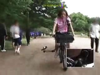 Japanese Schoolgirl Masturbates On A Modified Bicycle