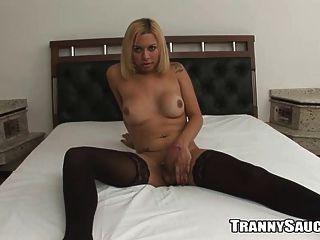 Tranny Pornstar Angel Star Exposes Her Big Dick
