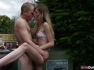 Naughty Skinny Amateur Chick Fucked On A Barbecue