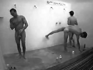 Guys In Public Shower With Hard On