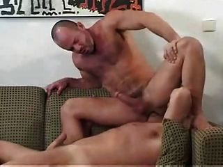 Hot & Hairy Muscle Daddies Bareback On The Sofa