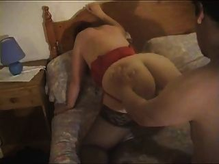Fat Wife In Red Lingerie Fucks With Chubby Man