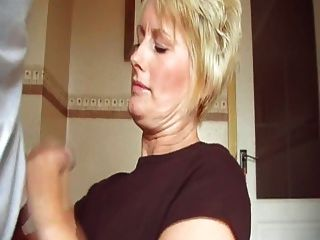 Short Haired Blonde Milf Jerking Off Step Son