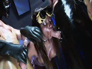 Jasmine Webb Ebony Fetish Whore On Two Masked Cocks