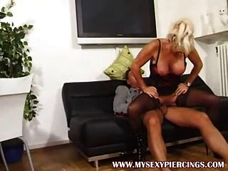 Pierced Granny Milf In Black Opaque Stockings Fucked