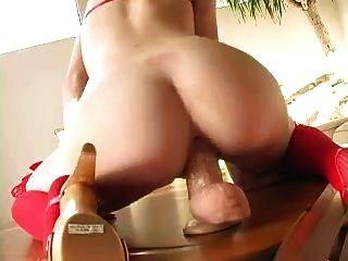 Hot Blonde Riding Dildo