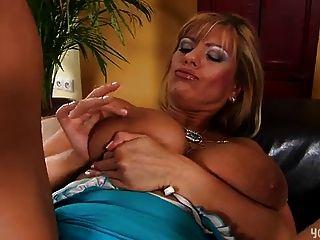 Mature Adele Masturbating In Blue Dress