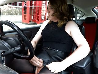 car Crossdresser handjob in