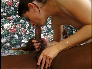 Soft B-cup Brunette Sucks Black Cock Then Bends For Doggy-style Drilling